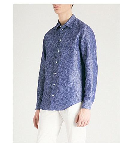 EMPORIO ARMANI Leaf-patterned linen and cotton-blend shirt (Denim