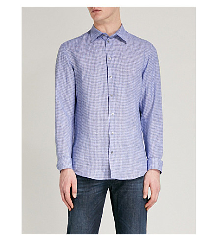 EMPORIO ARMANI Checked regular-fit linen shirt (Blue