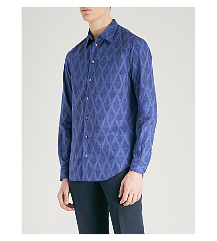 EMPORIO ARMANI Aztec-patterned regular-fit cotton and linen-blend shirt (White+blue