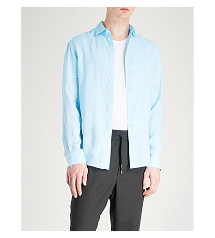 EMPORIO ARMANI Regular-fit linen shirt (Aqua