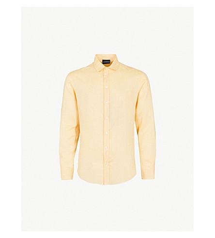 EMPORIO ARMANI Regular-fit linen shirt (Yellow