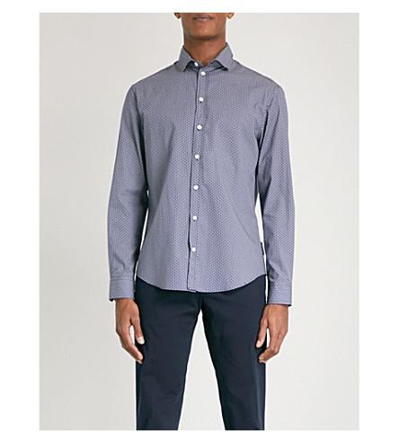 EMPORIO ARMANI Dot-print slim-fit cotton shirt (Navy