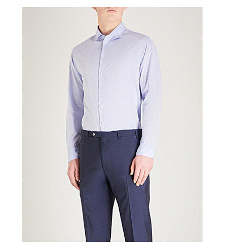 EMPORIO ARMANI Slim-fit cotton shirt (Sky+blue
