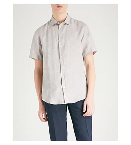 EMPORIO ARMANI Regular-fit linen shirt (Khaki