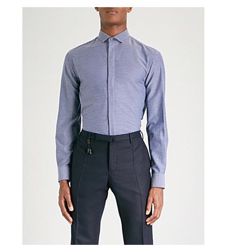 EMPORIO ARMANI Micro-jacquard regular-fit cotton shirt (Navy
