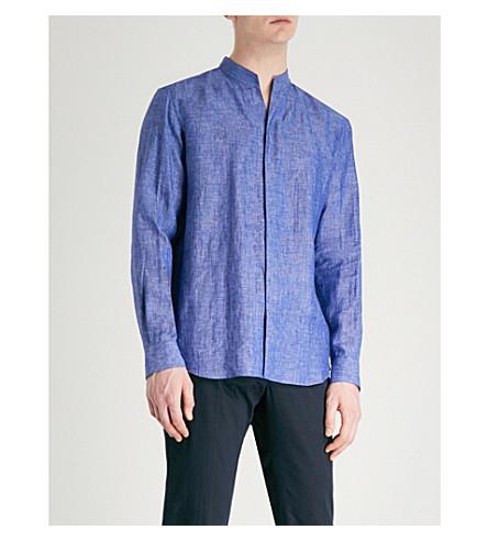 EMPORIO ARMANI Nehru-collar regular-fit linen shirt (Chambray