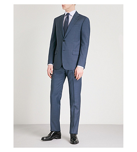 EMPORIO ARMANI Micro-check regular-fit wool suit (Blue