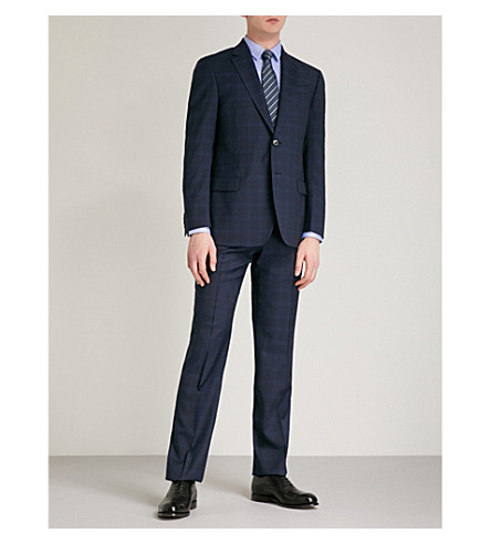 EMPORIO ARMANI Regular-fit checked wool suit (Navy