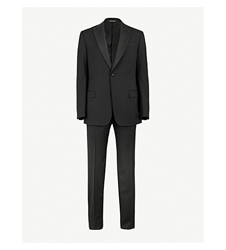 EMPORIO ARMANI Tailored-fit wool suit (Black