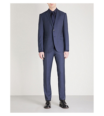 EMPORIO ARMANI Tailored-fit wool suit (Blue