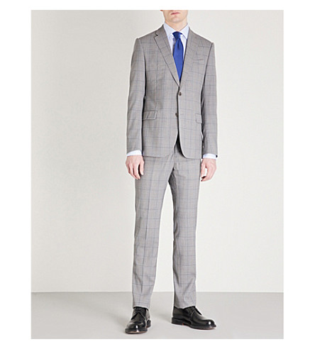 EMPORIO ARMANI Checked tailored-fit wool suit (Grey