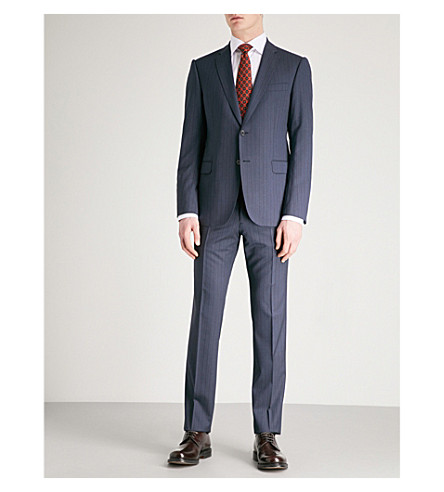 EMPORIO ARMANI Pinstriped tailored-fit wool suit (Blue
