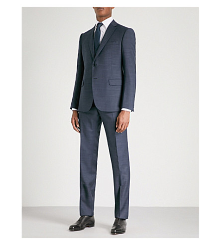 ARMANI COLLEZIONI Overcheck-patterned tailored-fit wool suit (Blue