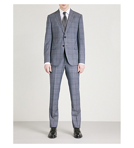 EMPORIO ARMANI Prince of Wales check tailored-fit wool suit (Grey