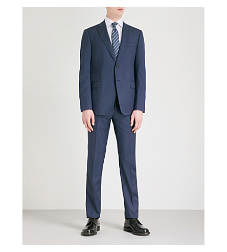 EMPORIO ARMANI Pindot modern-fit wool suit (Blue