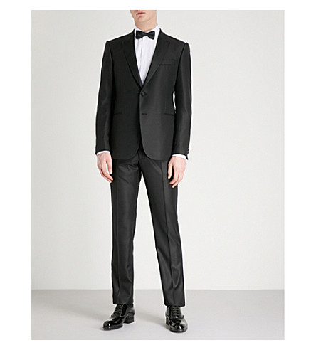 EMPORIO ARMANI Tailored-fit wool and silk-blend suit (Black