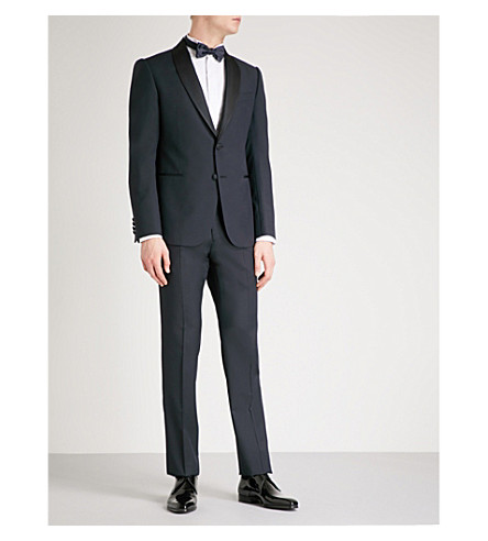 EMPORIO ARMANI Tailored-fit wool tuxedo (Navy