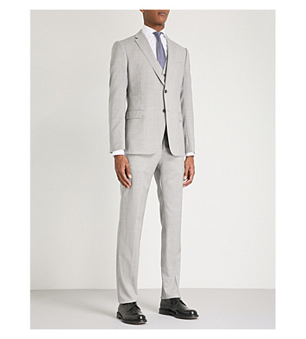 EMPORIO ARMANI Simple-weave tailored-fit three-piece wool suit (Light+grey