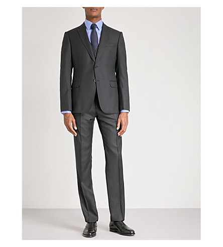 EMPORIO ARMANI Micro-checked tailored-fit wool and silk-blend suit (Black