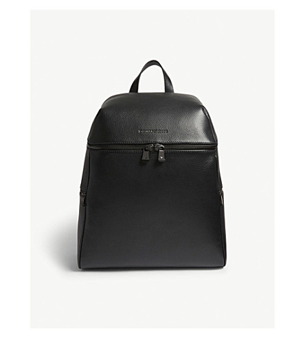 EMPORIO ARMANI Grained leather backpack (Black