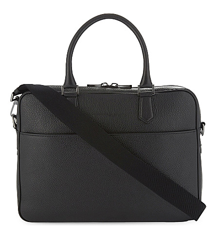 EMPORIO ARMANI Grained leather briefcase (Black