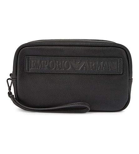 ARMANI COLLEZIONI Grained leather wash bag (Black