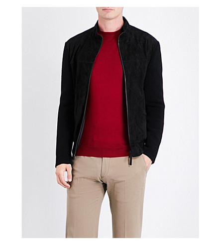 ARMANI COLLEZIONI Knitted-sleeve suede jacket (Black