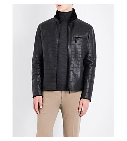 ARMANI COLLEZIONI Crocodile-embossed shearling and leather jacket (Black