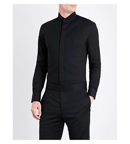 ARMANI COLLEZIONI Regular-fit wing-tip collar cotton-blend shirt (Black