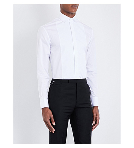 ARMANI COLLEZIONI Regular-fit double-cuff cotton shirt (White