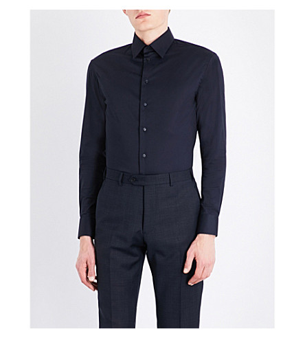 ARMANI COLLEZIONI Modern-fit stretch-cotton shirt (Navy