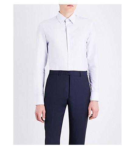 ARMANI COLLEZIONI Slim-fit patterned cotton shirt (White