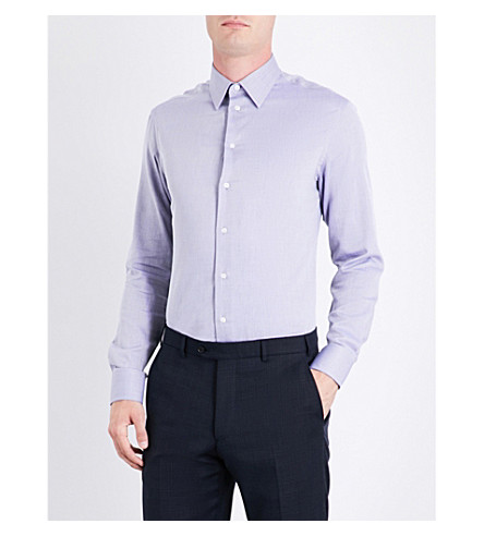 EMPORIO ARMANI Modern-fit herringbone cotton shirt (Blue