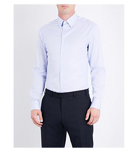 ARMANI COLLEZIONI Modern-fit striped cotton shirt (Light+blue