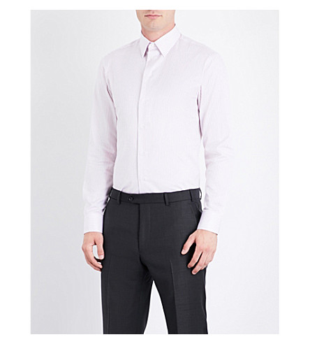 ARMANI COLLEZIONI Modern-fit striped cotton shirt (Pink
