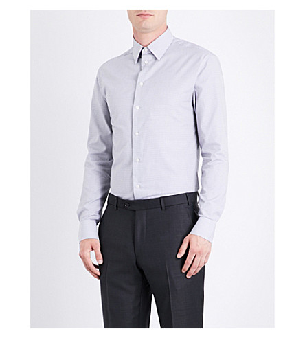 ARMANI COLLEZIONI Modern-fit geometric cotton shirt (Blk/white
