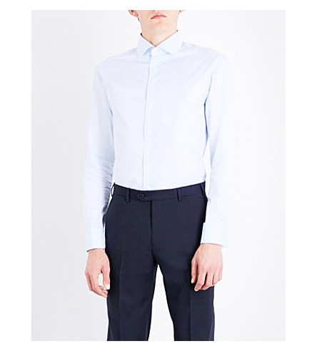 ARMANI COLLEZIONI Modern-fit cutaway-collar cotton-twill shirt (Sky