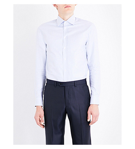 ARMANI COLLEZIONI Striped modern-fit cotton shirt (Blue