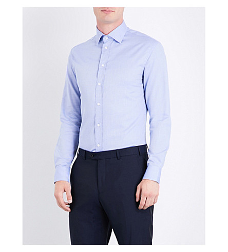 ARMANI COLLEZIONI Modern-fit birds eye cotton shirt (Sky