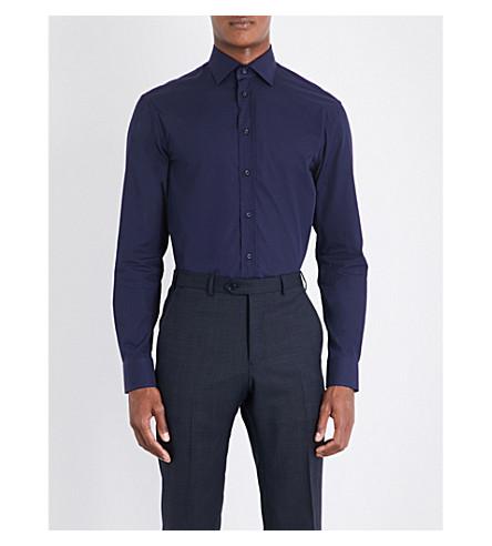 ARMANI COLLEZIONI X-stitched modern-fit cotton shirt (Navy