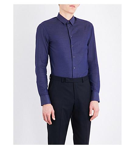 ARMANI COLLEZIONI Dot-patterned modern-fit cotton shirt (Blue