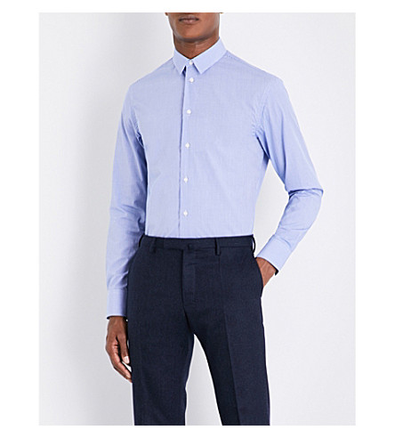 ARMANI COLLEZIONI Gingham modern-fit cotton shirt (Blue