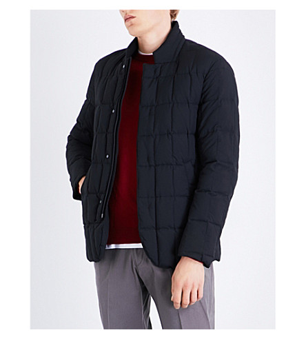 ARMANI COLLEZIONI Stand-collar quilted shell jacket (Black