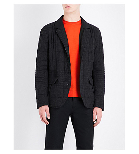 EMPORIO ARMANI Quilted wool-blend jacket (Grey