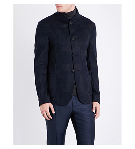 ARMANI COLLEZIONI Checked wool jacket (Navy