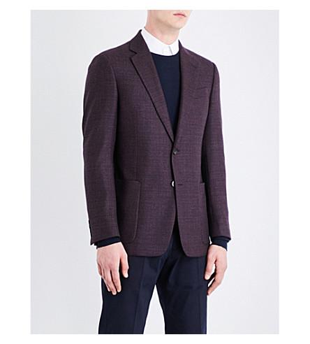 ARMANI COLLEZIONI Single-breasted regular-fit wool jacket (Aunergine