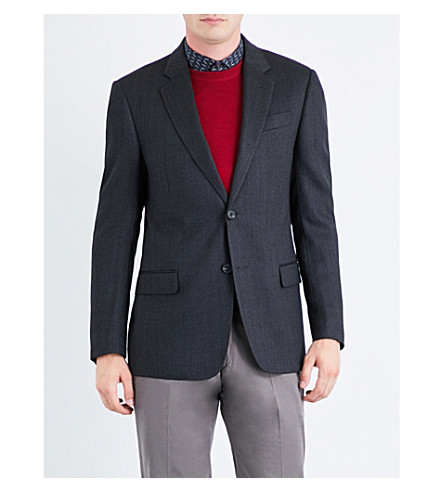 ARMANI COLLEZIONI Herringbone regular-fit woven jacket (Grey