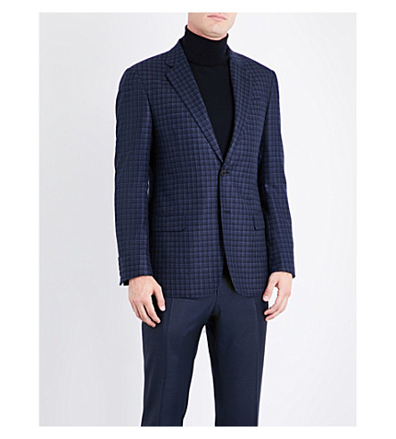ARMANI COLLEZIONI Checked silk and wool-blend jacket (Blue