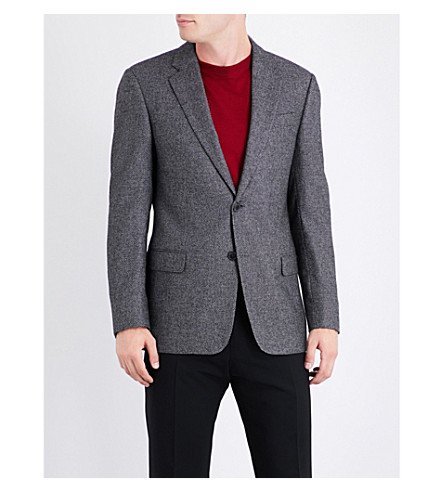 ARMANI COLLEZIONI Birdseye wool-blend blazer (Grey