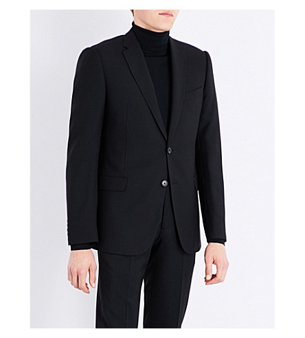 ARMANI COLLEZIONI Academy-fit hopsack wool jacket (Black